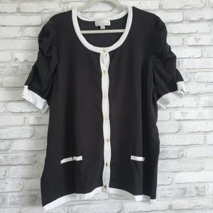 Button Up Black and White Knit Work Top